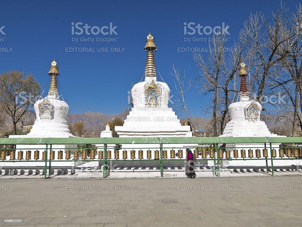 Potala Palace - white stupas royalty-free stock photo
