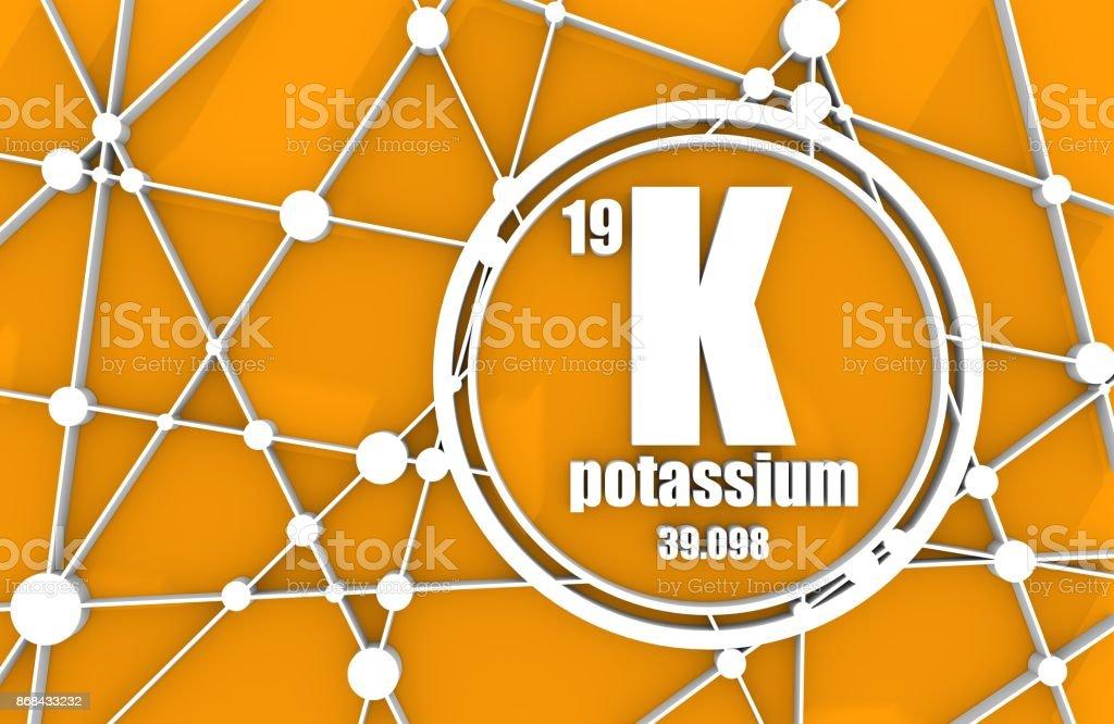 Potassium chemical element. stock photo