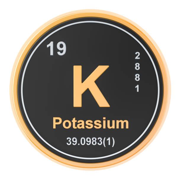 kalium, k chemisch element. 3d-rendering geïsoleerd op witte achtergrond - kalium stockfoto's en -beelden