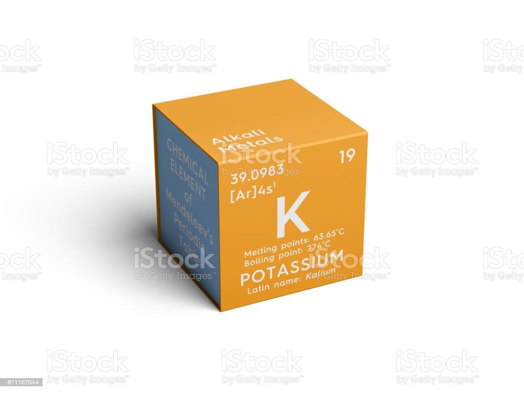 Potassium. Kalium. Alkali metals. Chemical Element of Mendeleev's Periodic Table. stock photo