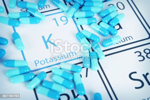 Potassium with capsules or pills on the periodic table (Periodic table made by me)  Stock image representing mineral supplementation.