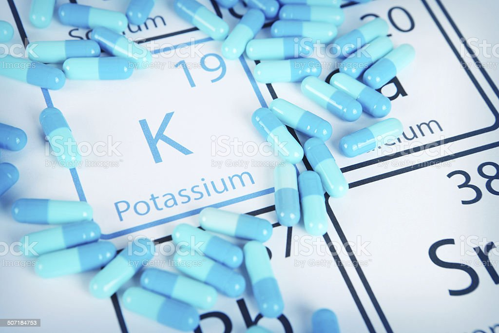 Potassium - Mineral Supplement on Periodic Table stock photo