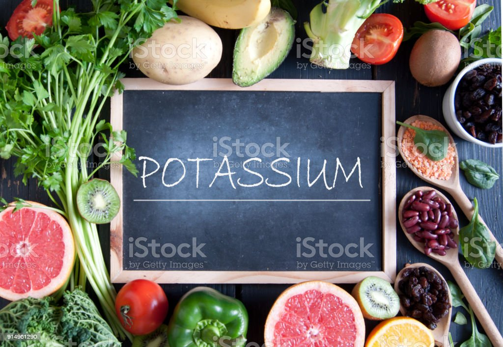 Potassium rich foods stock photo