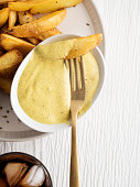 repared Potato, Potato Wedges, Plate, French Fries, Fried,Vegetables,Sauce,