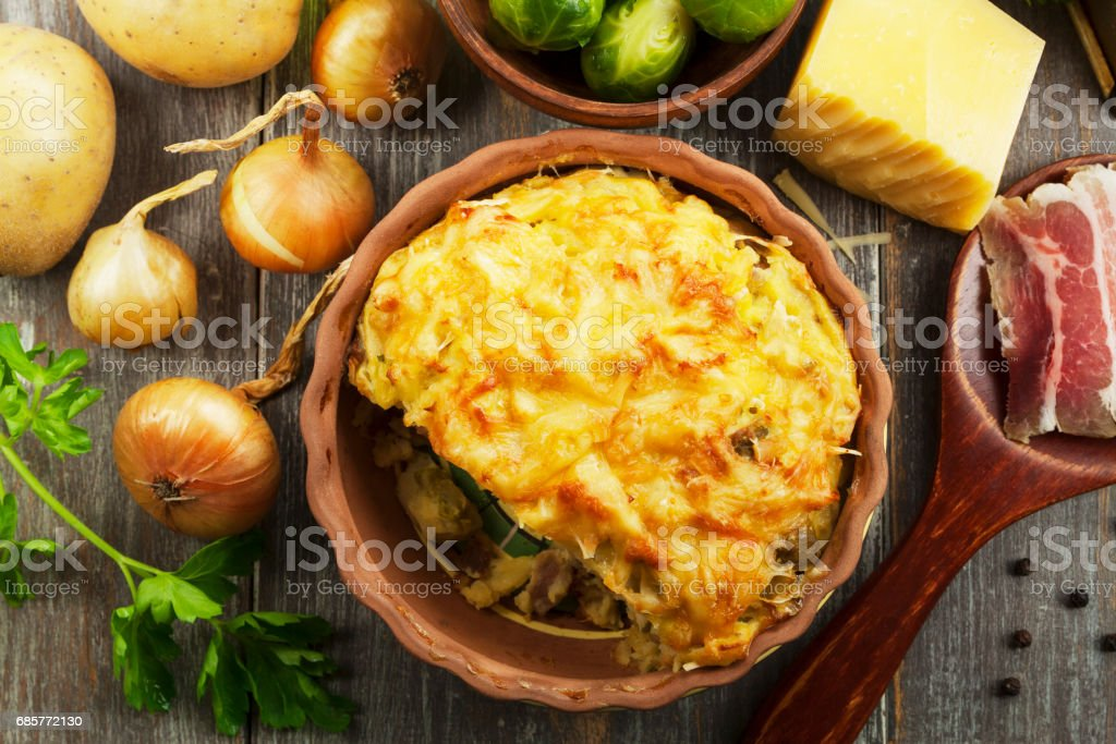 Potato casserole with brussel sprouts royalty-free stock photo