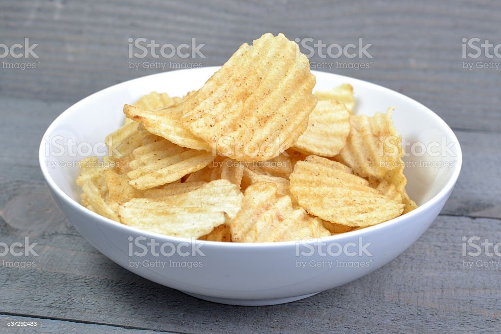 Potato Chip On White Bowl stock photo