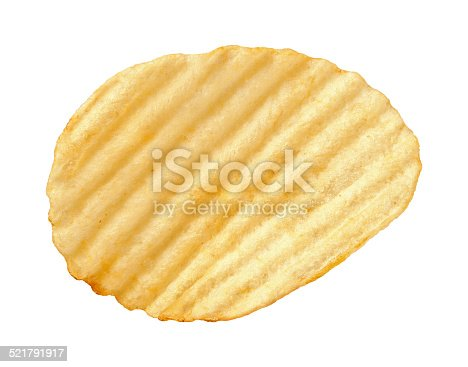 A single wavy potato chip with ridges, sometimes called ruffles, isolated on a white background. A salty snack associated with parties, and watching sporting events. It falls into category of one of Americas favorite junk foods. This snack is notorious for being high in calories. Shot with a Canon EOS-1 Ds Mark II.