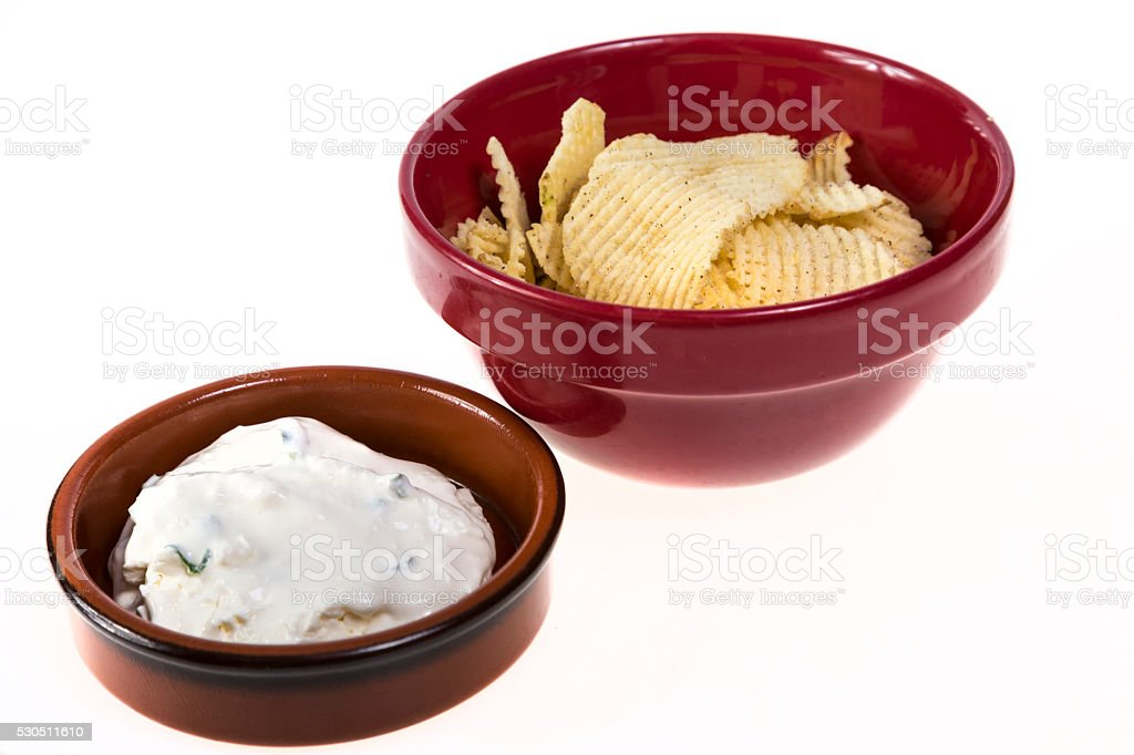 Potato Chips and Onion Dip stock photo