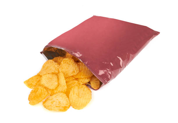 potato chips bag - crisp packet stock photos and pictures