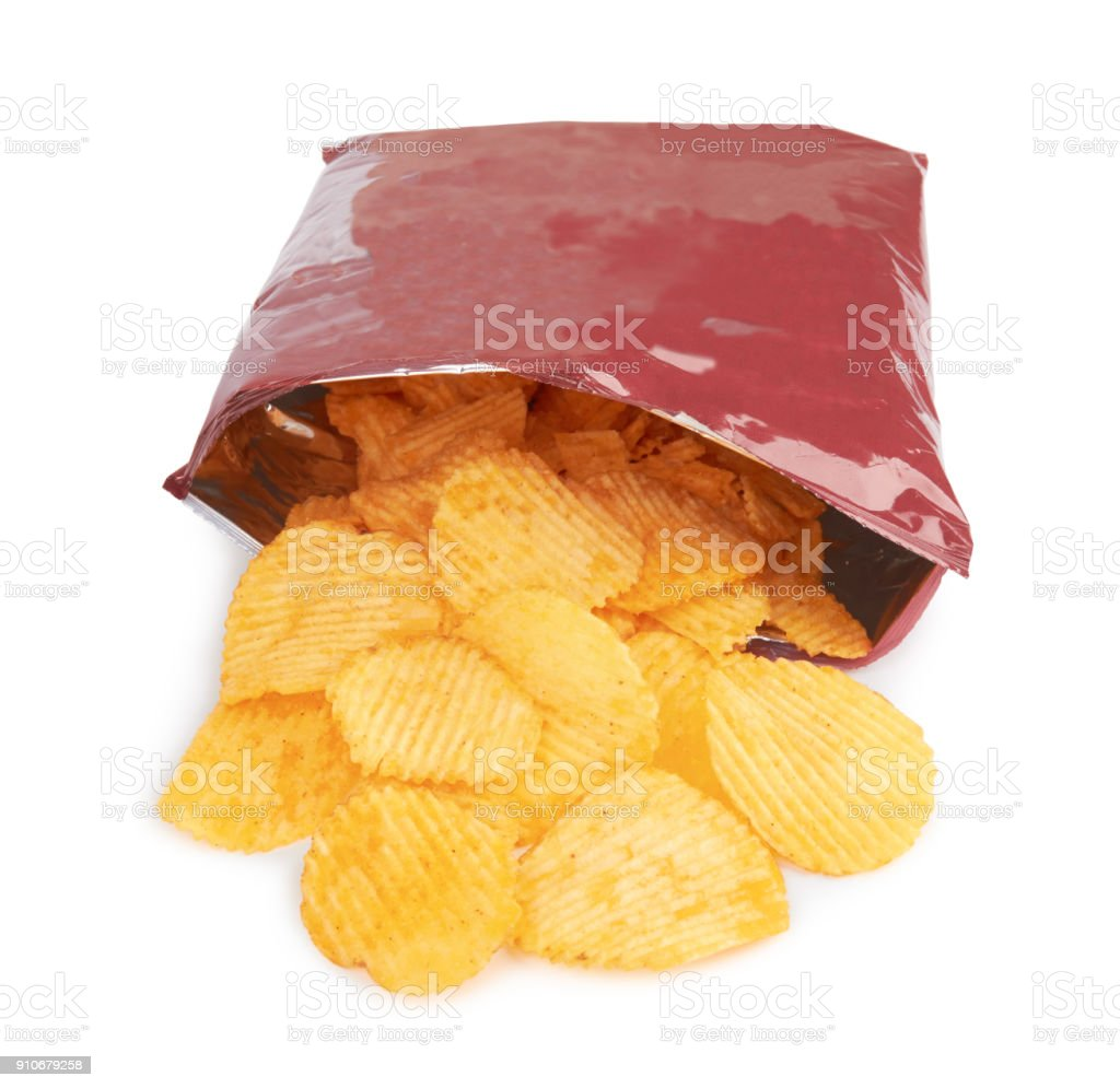 Potato chips bag stock photo