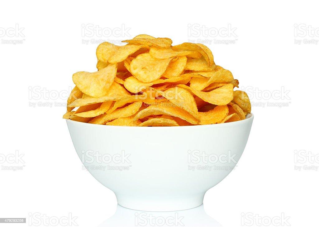 Potato chips bowl auf weißem Hintergrund – Foto