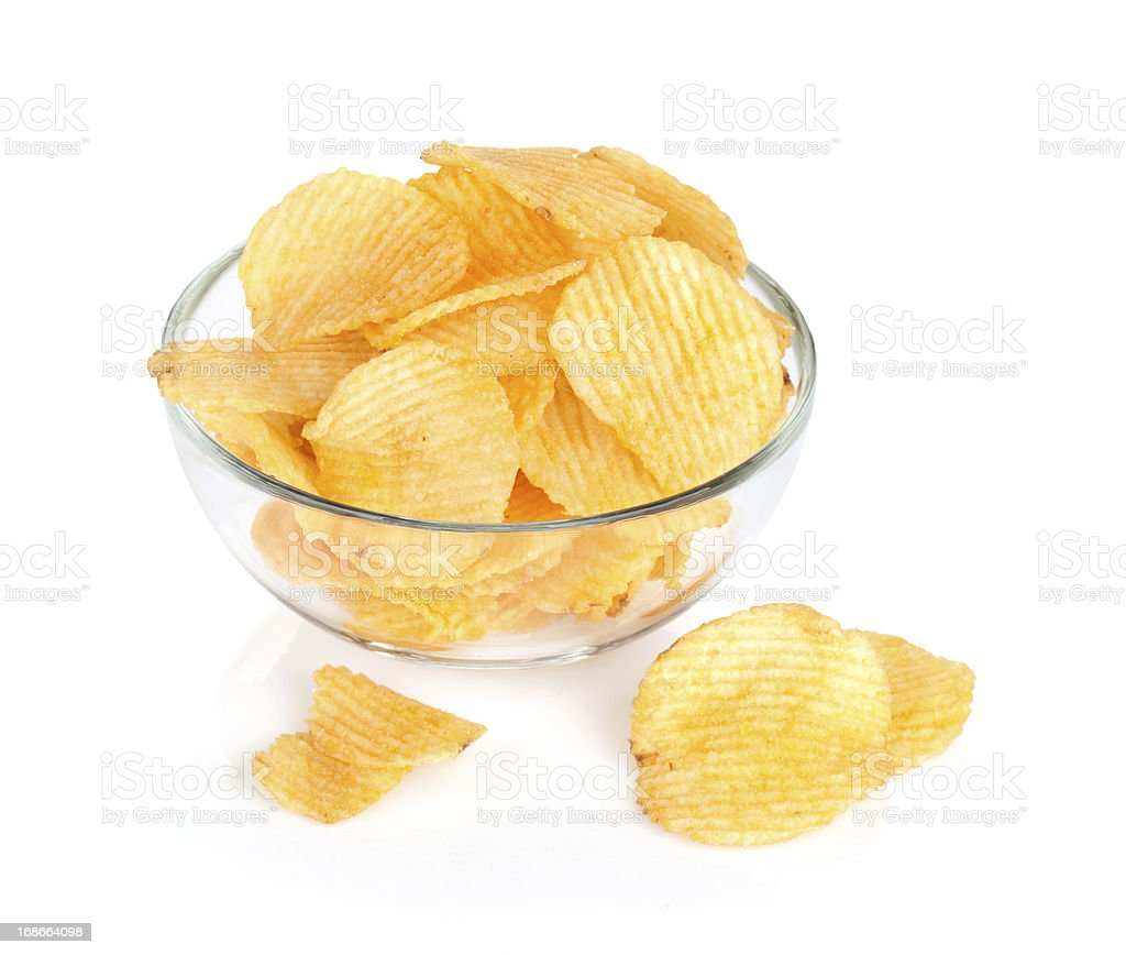 Potato chips in glass bowl royalty-free stock photo