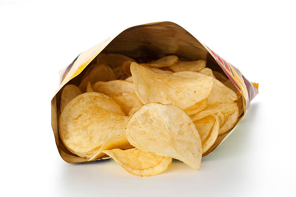potato chips in pack - crisp packet stock photos and pictures