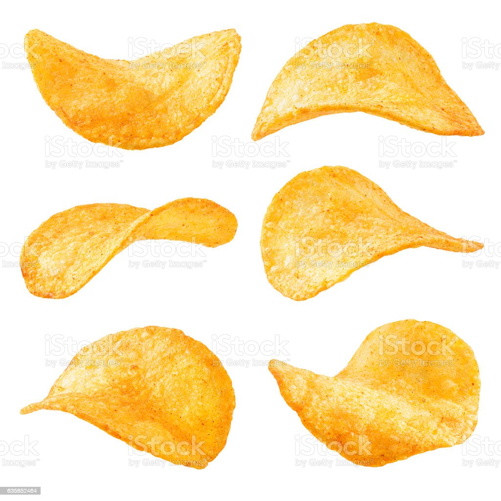 Potato chips isolated on white background. Collection. - foto de acervo