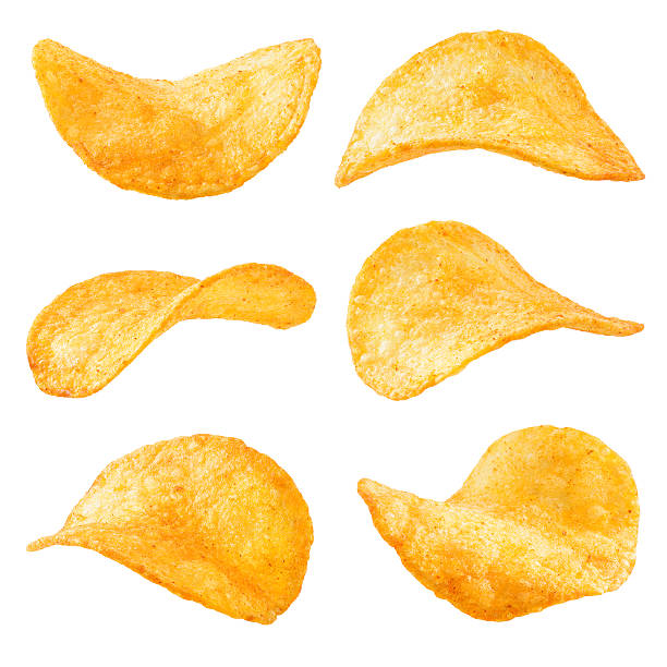 potato chips isolated on white background. collection. - chipsy zdjęcia i obrazy z banku zdjęć