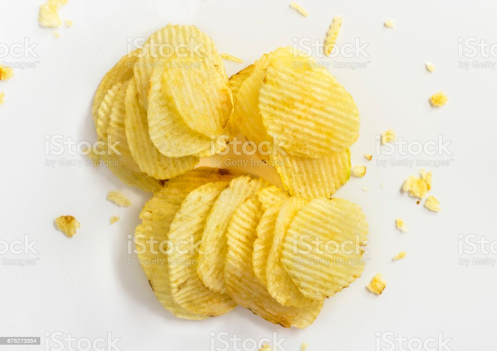 Potato chips isolated on white background. stock photo