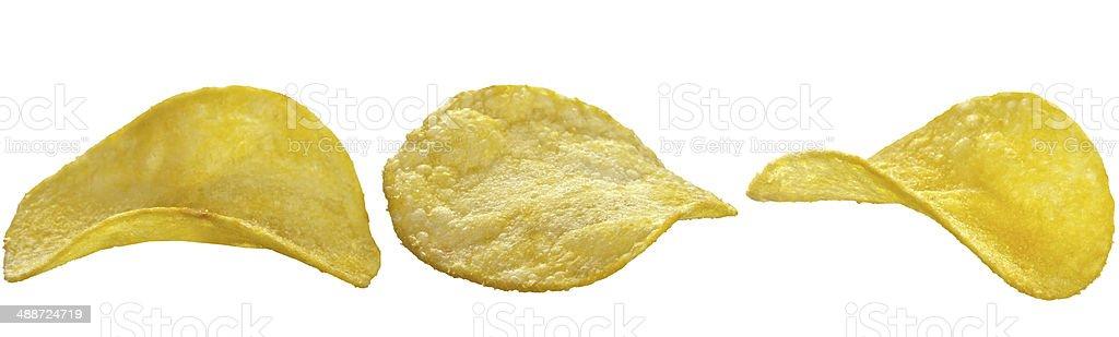 potato chips on white background royalty-free stock photo