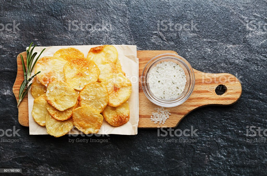 Potato chips or crisp with copy space for text stock photo