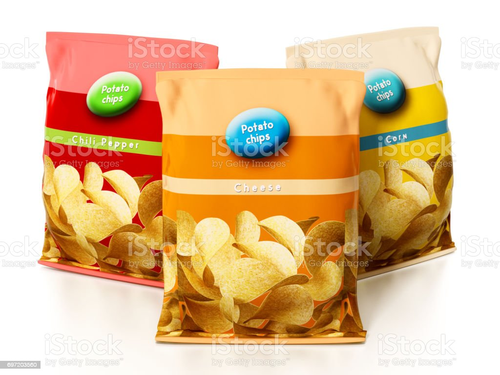 Potato chips packages isolated on white stock photo
