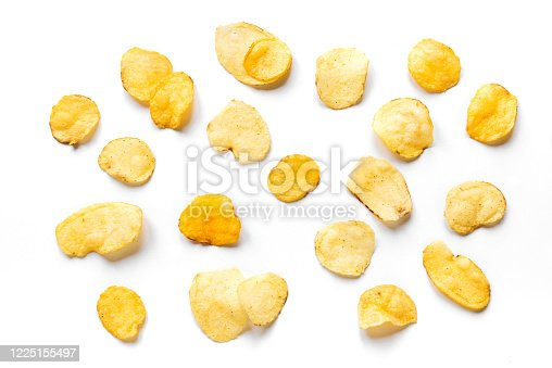 Potato chips isolated on white background. Crispy potato chips creative layout, top view, banner.