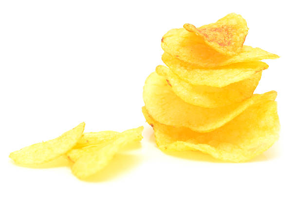 potato chips - kartoffelturm stock-fotos und bilder