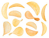potato chips close up isolated on a white background