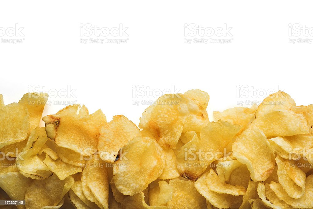 Potato Chips Snack Still Life Frame Border in White Background royalty-free stock photo