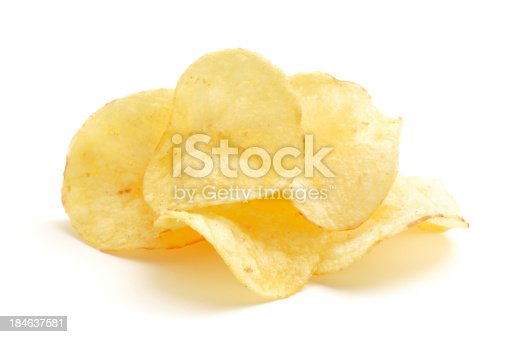 Crisps in a small pile isolated on a white background.