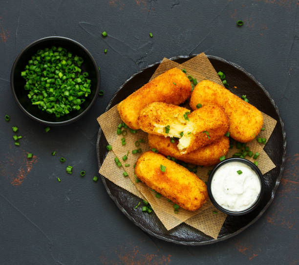 potato croquettes with cheese stock photo