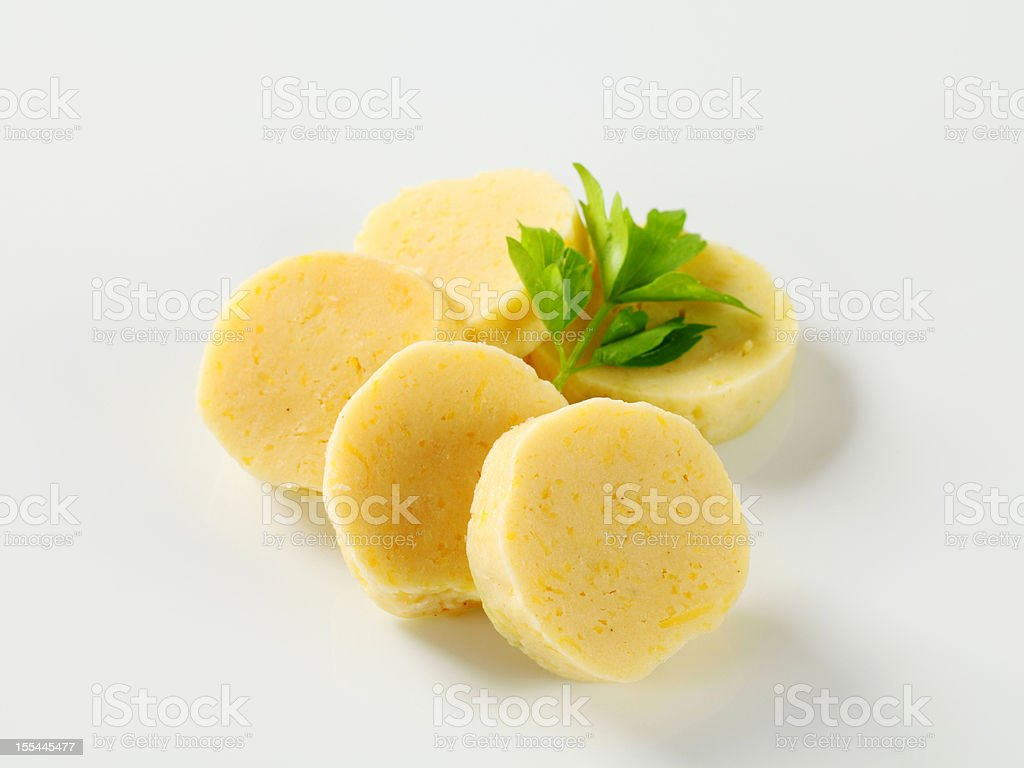 Potato dumplings isolated on white stock photo