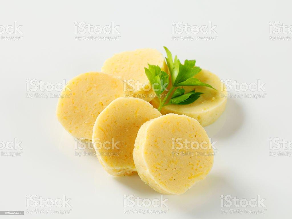Potato dumplings isolated on white stock photo