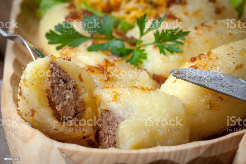 Potato dumplings stuffed with minced meat. stock photo