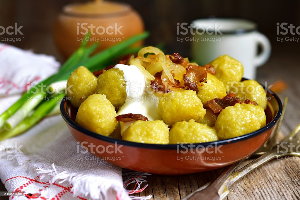 Potato dumplings - traditional dish of belorussian and polish cuisine. stock photo