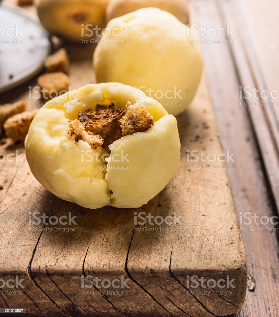 Potato dumplings with crouton, german national food stock photo