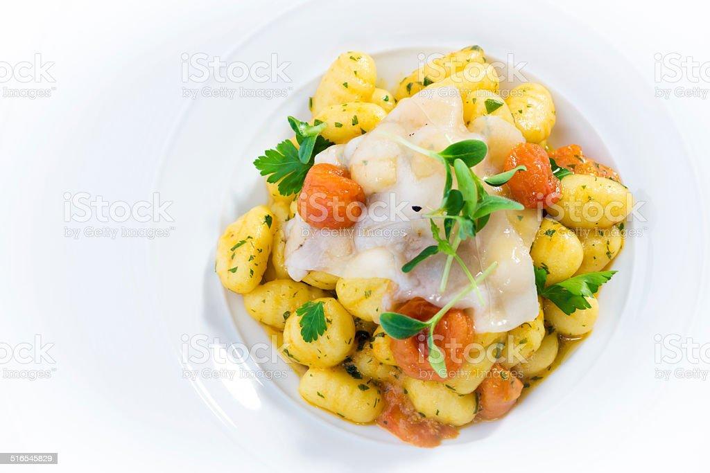 Potato Gnocchi with Lardo stock photo