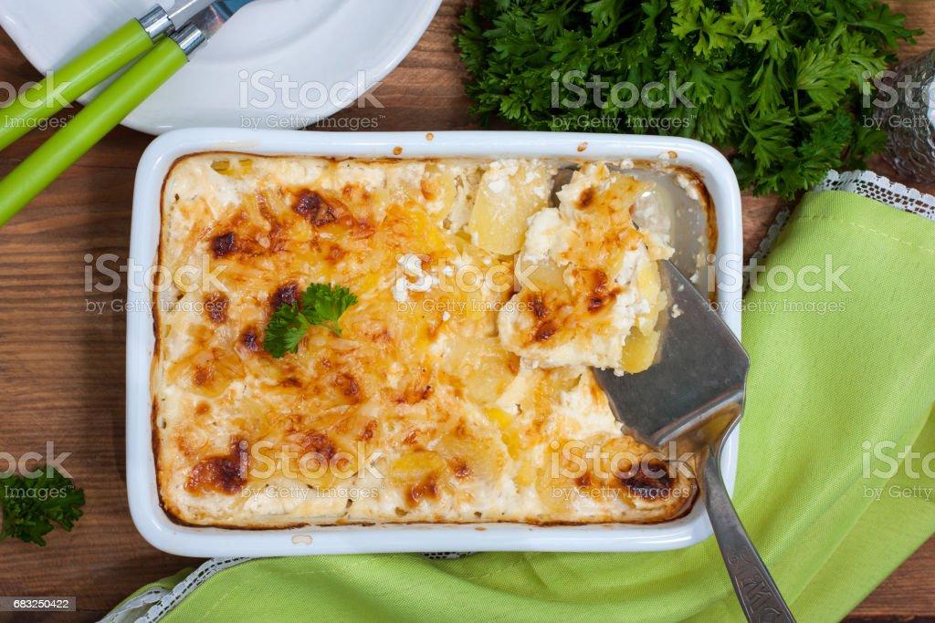 Potato gratin in ceramic form, top view royalty-free stock photo