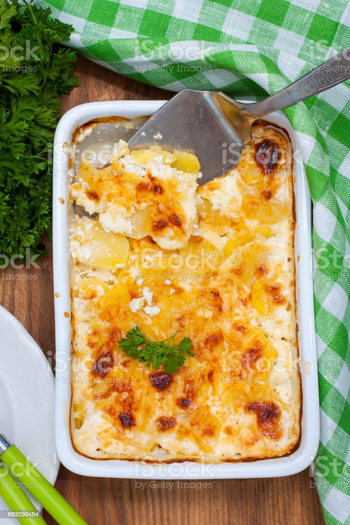 Potato gratin in ceramic form, top view royalty-free 스톡 사진