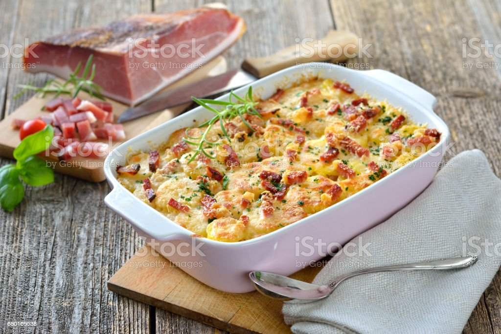 Potato gratin with bacon stock photo