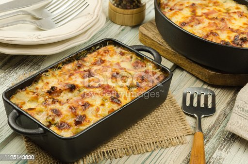 istock Potato gratin with parmesan cheese, cream and cured bacon from South Tyrol.  Scalloped potato casserole 1125143830