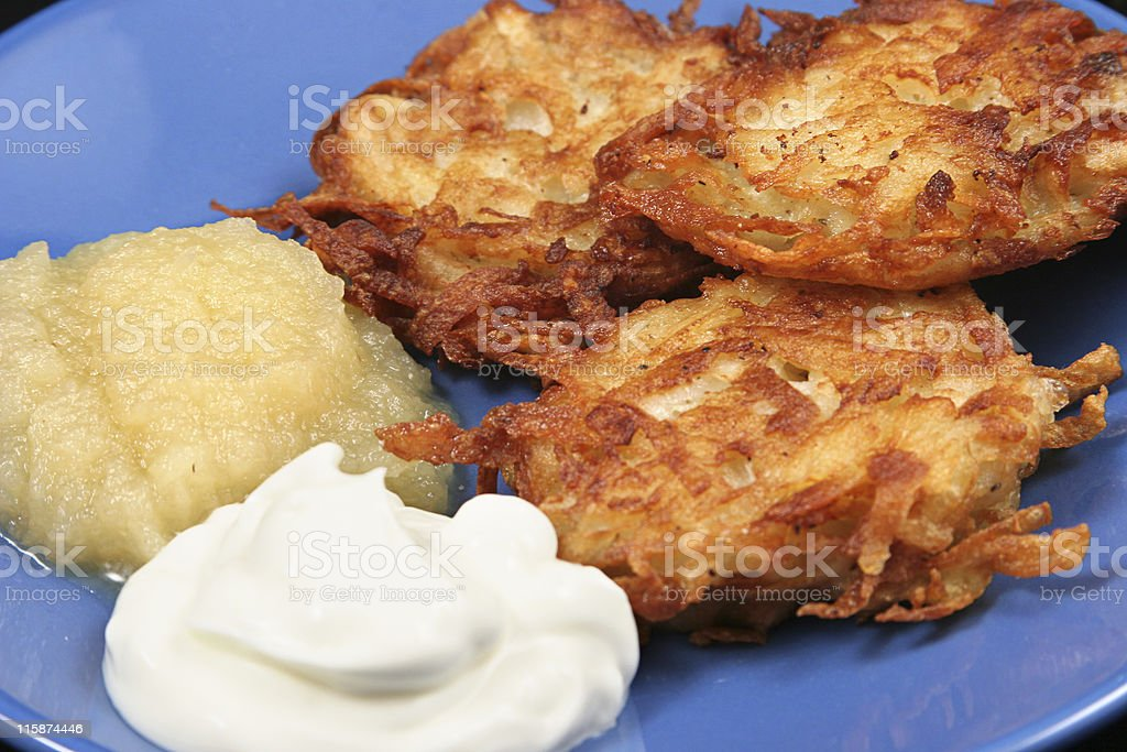 Potato Latkes Closeup stock photo