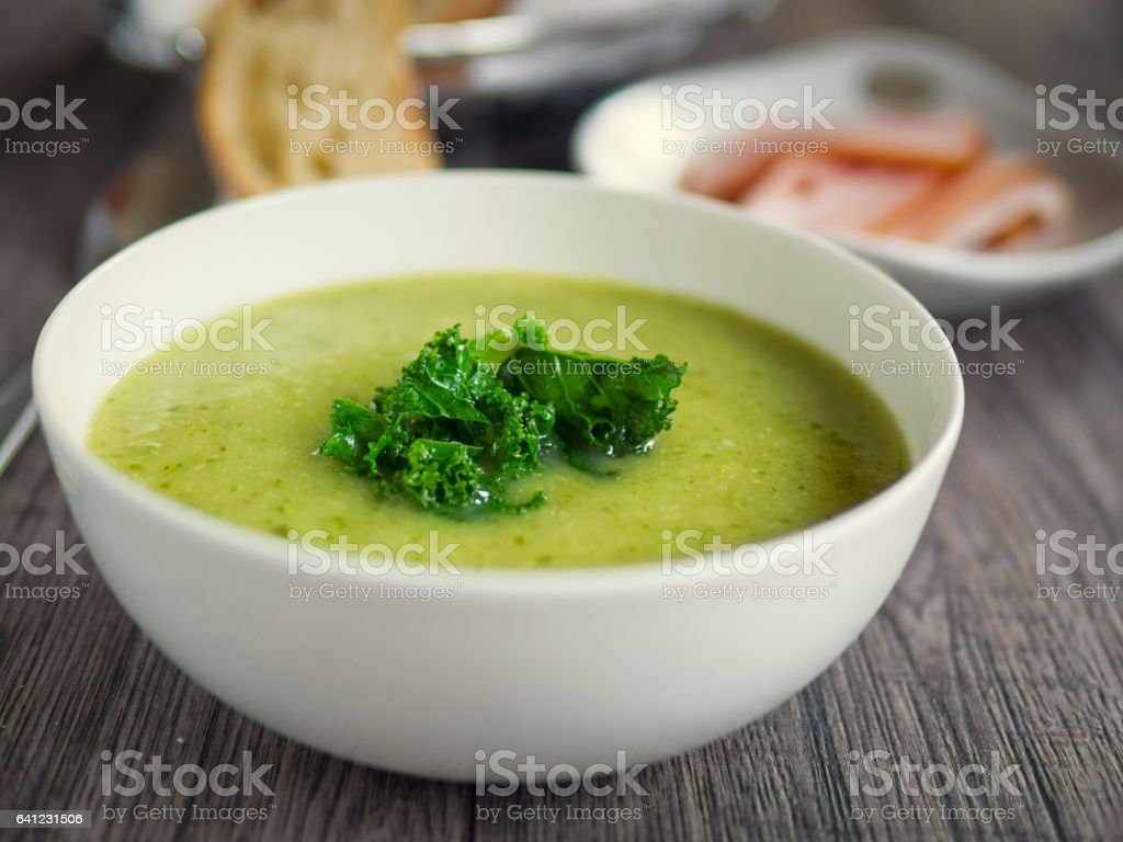 Potato leek soup stock photo