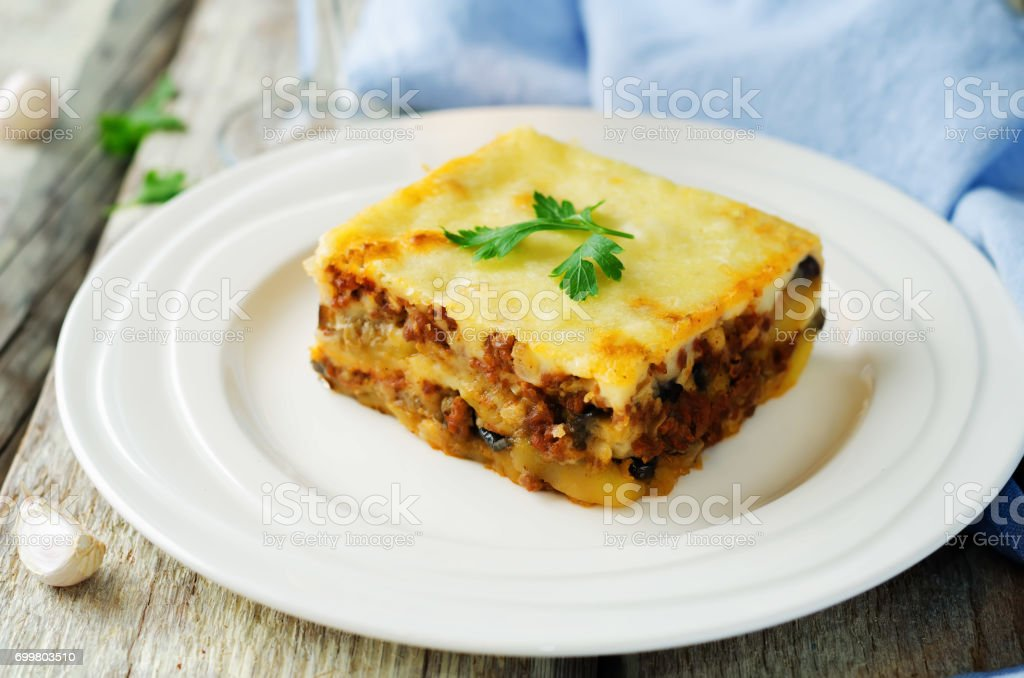 Potato minced meat eggplant casserole. Moussaka stock photo
