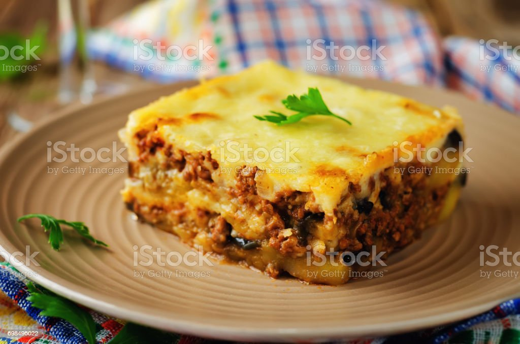 Potato minced meat eggplant casserole stock photo