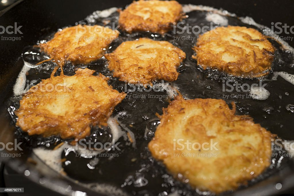 Potato Pancakes Latkes in a Frying Pan stock photo