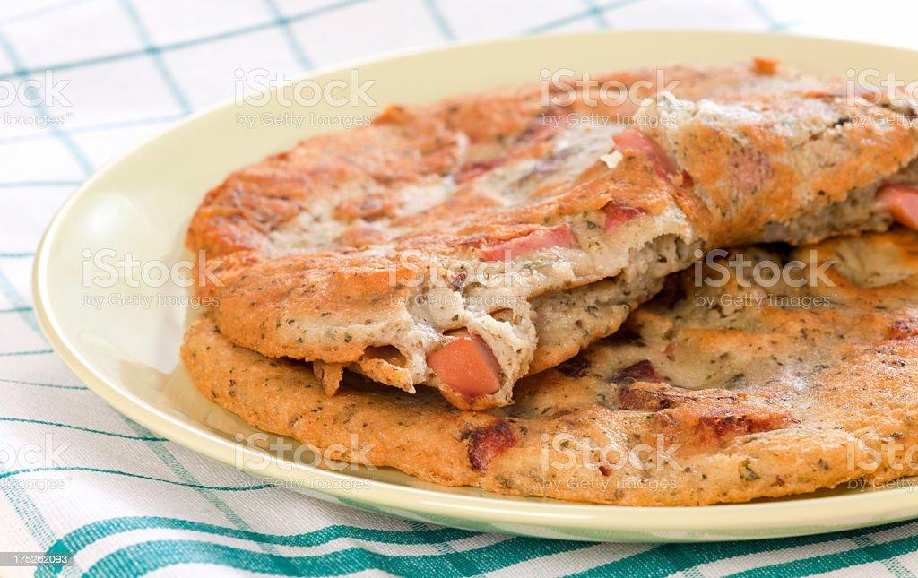 Potato pancakes with sausage royalty-free stock photo