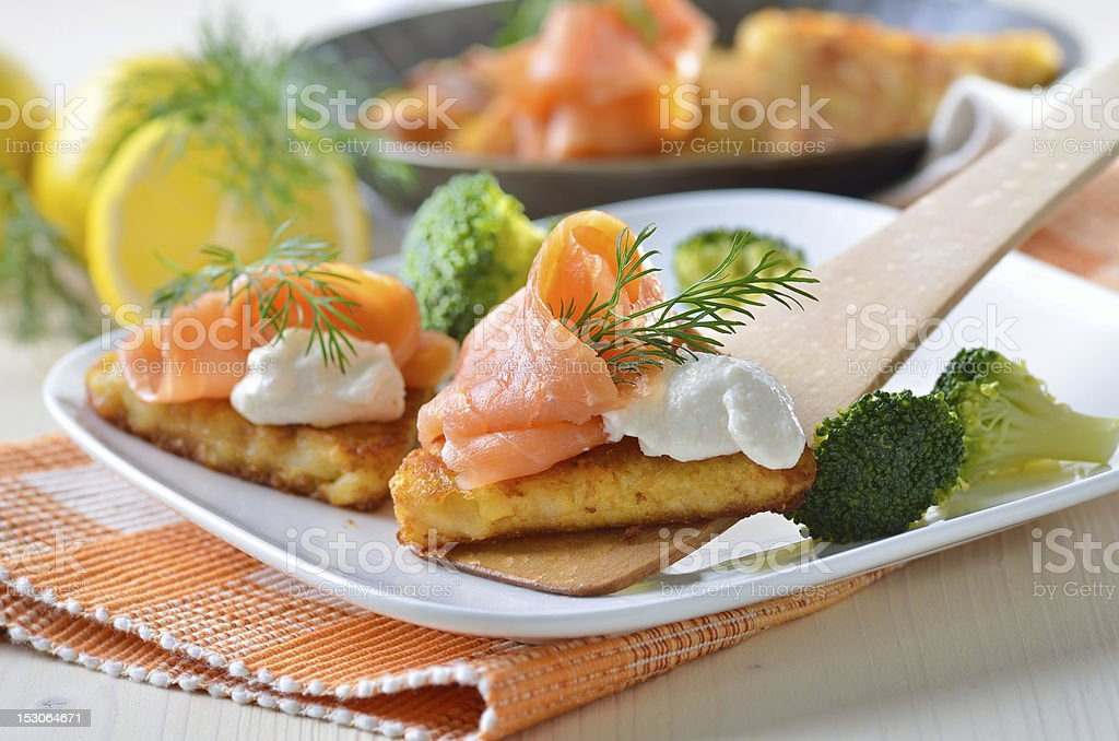 Potato patties with salmon royalty-free stock photo