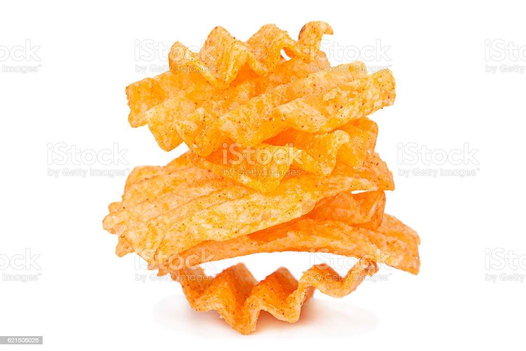 Potato ribbed chips on white foto stock royalty-free