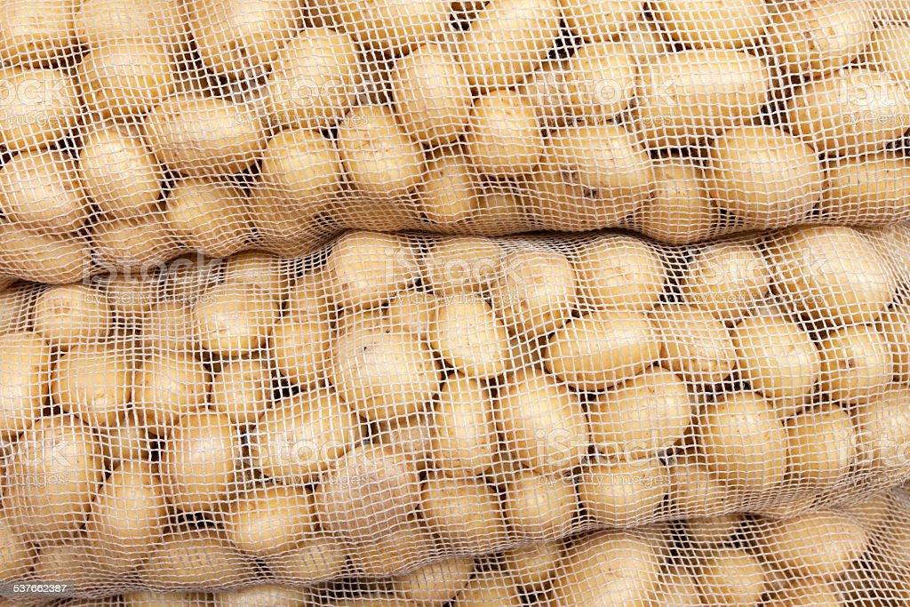 Potato sacks stock photo