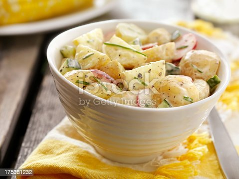 Potato Salad with Radishes and Cucumbers and Fresh Chives at a Picnic -Photographed on Hasselblad H3D2-39mb Camera