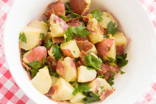 Potato Salad Made With New Red Potatoes And Turkey Bacon Stock Photo Download Image Now Istock
